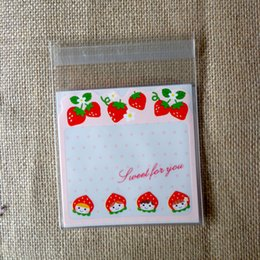 Wholesale-100pcs Strawberry Shortcake Girl OPP Cute small Baking Christmas  Gift Packaging Bags Wedding Cookie Candy Plastic bag 247fe3f70911f