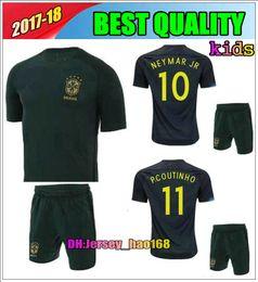 2017 2018 kids kits world cup soccer jersey kits 3rd green brazil neymar jr pele david