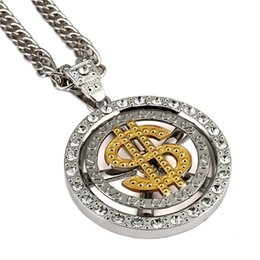 spinning pendant NZ - Top Quality Silver Spin Dollar Logo Pendant Necklace Classic Hip Hop Bling Jewelry For Men Nightclub Party Wear