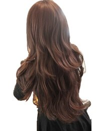 Long dark brown cospLay wig online shopping - Women Girls Natrual Long Wavy Full Head Wig For Cosutme Party Cosplay Black Light Brown Dark Brown Cm Synthetic Hair Wigs