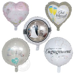 Balloon Heart Valentine Canada - 50pcs lot 45*45cm I LOVE YOU Balloons Valentine day Wedding Decorations Party married engagement Heart shape Love Foil Globos