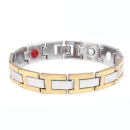 Silver Magnetic Bracelets For Men NZ - Men Link chain Magnetic Therapy Bracelet for men Gift high quality silver &gold color magnetic cuff bracelet & bangle wholesale