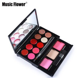 $enCountryForm.capitalKeyWord Australia - Wholesale- Brand makeup Music Flower matte lipstick palette lip gloss set+face blush+highlighter+bronzer+pressed face powder makeup set