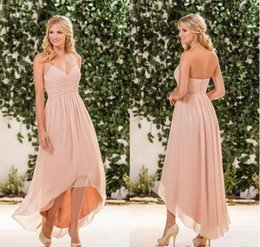 China Blush Pink Chiffon High Low Bridesmaid Dresses Cheap Halter Pleats Back Zipper Long Beach Country Garden Maid Of Honor Gown cheap low back gowns halter suppliers