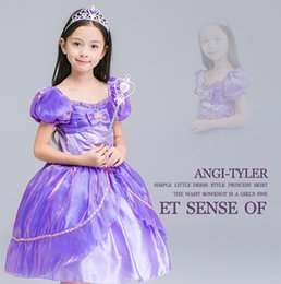 Cosplay Cenicienta Baratos-Las niñas de Halloween Princesa Cosplay Vestido Blanca Nieves Cenicienta Disfraces Manga Puff Tulle Purple Girls Boutique Ropa