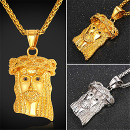 Chinese  U7 Crucifix Christian Vintage Cross Jewelry Jesus Head Pendant Necklace Yellow Gold Plated Stainless Steel Rope Chain Jewelry Perfect Gifts manufacturers