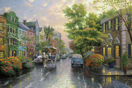 $enCountryForm.capitalKeyWord Canada - Charleston Sunset On Rainbow Row Thomas Kinkade Oil Paintings Art Wall Modern HD Print On Canvas Decoration No Frame