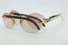 70b743ce10 Brand Designer Rimless Sunglasses for Men Black White Buffalo Horn Glasses  Round Glasses Frames Exquisite Sun Glasses Women Sunglasses