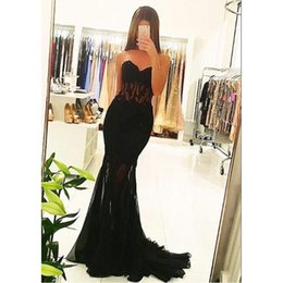 Barato Roupões Sexy De Chiffon Preto-2017 Sweetheart Evening Gowns Black Lace Mermaid Veja através da cintura Andar Length Prom Dresses Sexy Designer Robes De Soiree