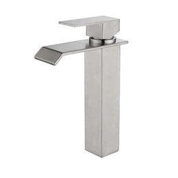$enCountryForm.capitalKeyWord UK - 304 Stainless Steel Bathroom Sink Faucets Waterfall Spout Nickel Brushed Single Handle Hole Hot Cold Mixer Deck Mount Basin Taps SSMP006
