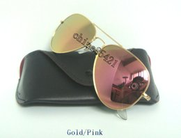 Sun Glasses Black NZ - 1Pcs Mens Womens Designer Sunglasses Pilot Sun Glasses Gold Frame Colorful Flash Pink Mirror Glass Lenses With Black Cases Silver Box