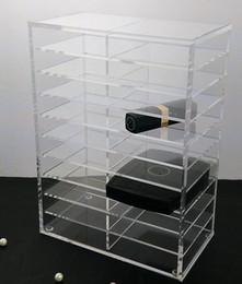 Acrylic Brush Case Canada - Clear Acrylic Brush Lipstick Holder Makeup Organizer Cosmetic Makeup Tools Storage Box Case 20 layers