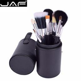 Black Brand Makeup Canada - JAF Brand 12 Pcs Makeup Brushes Kit Studio Holder Tube Convenient Portable Leather Cup Natural Hair Synthetic Duo Fiber J1204MCB