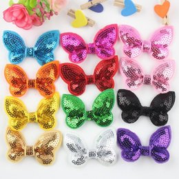 $enCountryForm.capitalKeyWord Canada - 50pcs lot Little Girls cute Hairbands hair elastic ties Sequin Bow Hair Bands girls ponytail holder Kawaii Hair Accessories for children