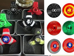 Wholesale DHL Captain America Iron Man Triangle Fidget Spinners Aluminum Alloy Spinning Top Decompression Anxiety Toys