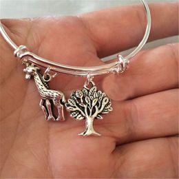 Giraffes bracelet online shopping - 12pcs Giraffe and tree charms bracelet silver tone bangles