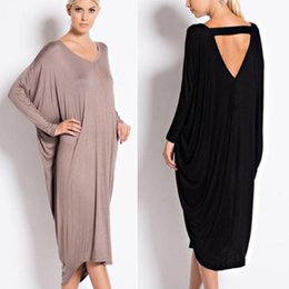 Robes Moyennes Pour La Fête Pas Cher-Loose Vestidos Femmes Casual Pure Color Backless Medium Long Dress Trendy V-neck Long Sleeve Party Dresses Mujer