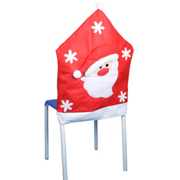 christmas santa chair Canada - Beach Chair 3Pcs European Half Stereo Christmas Snowman Party Decoration Santa Elk Chair Covers