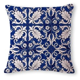 chinese pillow case covers UK - decorative chinese cushion cover blue porcelain sofa chaise throw pillow case vintage ethnic almofada phoenix cojines