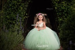 Barato Vestido Verde Molhado De Lantejoulas-Rose Gold Sequins Mint Green Tulle Flower Girls Vestidos 2017 Jewel Neck Heart Backless Puffy Vestido de Baile Princess First Communion Vestidos