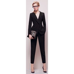 Barato Jaqueta Longa E Preta Para Mulheres-Jacket + Calças Womens BusinessABC Suit Black Mangas compridas Feminino Office Uniform Ladies Formal Trouser 2 peças Set Double Breasted