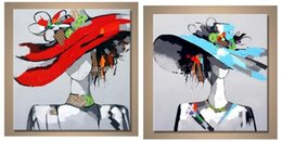 $enCountryForm.capitalKeyWord Australia - 2PCS Beauty Girl Picture with Hat,Hand Painted Contemporary Abstract Wall Decor Art Oil Painting. Multi customized sizes Framed Available