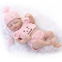 Kids Silicone Baby Canada - Full Vinyl Reborn Baby Boy Silicone 10 Inch Newborn Dolls Realistic Baby Dolls For Kids Brown Eyes For Baby Shower New Year Gift