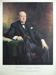 $enCountryForm.capitalKeyWord Canada - Winston Churchill,Pure Hand Painted Fine Portrait Art Oil Painting On Thick Canvas in Multi size accepted