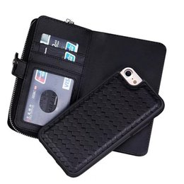 Case Cover purse Card wallet online shopping - Multi function Weaving Zipper Wallet Purse Leather PU Case Flip Cover For Samsung Galaxy S7 S7 Edge iphone plus s iphone S SE