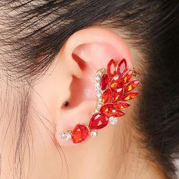 $enCountryForm.capitalKeyWord NZ - XS European Zinc Alloy Gold Pleated Red Rhinestone Peacock Big Clip Earring for Women Left Right Wrap Cuff Ears Earrings Brincos