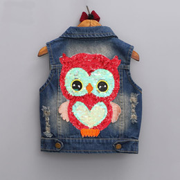 Spring Waistcoat Canada - girls outerwear 2017 Autumn girls clothes children Cartoon Owl Appliques Coat Cowboy Waistcoats Length Jacket