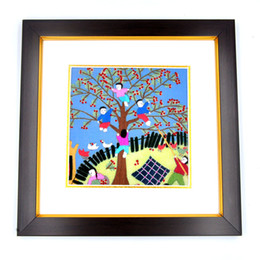 Frame Antique UK - 100% Handmade Embroidery Chinese Rural Theme with Antique Gold Wrap Angle or Frame for Home Wall Decoration Special Holiday Gift