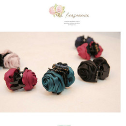 $enCountryForm.capitalKeyWord NZ - 20pcs Fashion Girls Women Korea style hairpin cotton Rose Flower Bow Hair Claw Jaw Clip Clamp Barrette Big Flower Hair Accessories