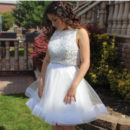 Two Piece White Short Homecoming Dresses Bateau Neck Sleeveless Sequins Beaded  Tulle Plus Size Prom Dresses Short Party Dresses 092fcc7c5