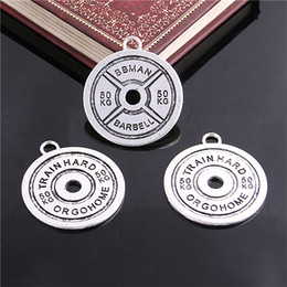 $enCountryForm.capitalKeyWord NZ - Sweet Bell 35mm Antique Silver Weight Plate Charms pendants Fit DIY Fitness Necklace Jewelry 50KG D6101
