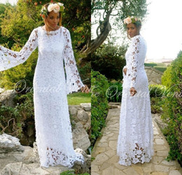 Discount boho shirts - 2017 African Boho Beach Wedding Dresses with Long Sleeve Bohemian Lace Bridal Gowns Vestido De Novia Gipssy Hippie Weddi