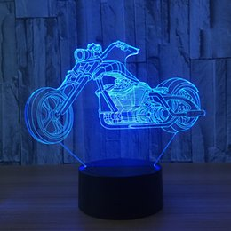 moon buttons Canada - 3D Motorbike Lamp Night Lamp 7 RGB Colorful Lights USB Powered with Battery Bin Touch Button Wholesale Dropshipping