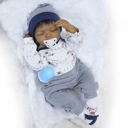 $enCountryForm.capitalKeyWord NZ - New Arrival Novel Black Color Reborn Lifelike Baby Boy Dolls Newborn Soft Silicone Vinyl Head Doll Kids Birthday Gift Sleeping Toys