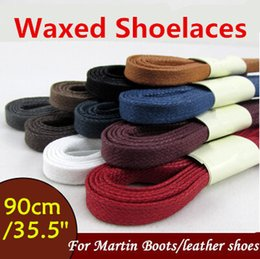 Discount string family - Wellace Multicolored 8mm High Quanlity Flat Waxed Shoelaces Cotton Shoe Laces 8mm wide Unisex Strings Cord for Leather S