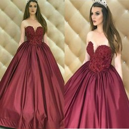 Ligne Sweetheart Floor Length Satin Pas Cher-Vintage Arab Bourgogne Satin Soir Robes de bal A Line Floor Length Formal Robe de soriee Sweetheart Princess Party Gowns