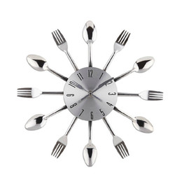 watch wall clock modern design silver kitchen cutlery digital wall clocks spoon fork home decor art room decorative