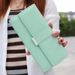 $enCountryForm.capitalKeyWord Canada - Wholesale- Fashion Fresh Women Wallet Drawstring Hasp Solid Leather Wallet 3 Fold Designer Purse Ladies Wallet Clutch Short Coin Pocket