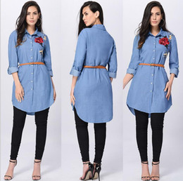 long sleeve tunic tee NZ - Ladies Denim Chambray Smocked Embroidered Tunic Loose Lapel Neck Tops Womens Button Fly Belt Long Sleeve T-Shirt Shirt Tee