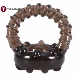 Barato Sexo De Homem Galo Duplo-Atacado - Anel de galo duplo Soft Silicone Time Delay Erection Cock Rings para homens Adulto Sexy Penis Rings Thread Sex Toys Ring Penis Cockring