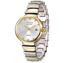 Designer Watch Straps UK - Hot Sale!New Fashion XINWEN Luxury Watches Women Brand Designer Stainless Steel Strap Diamond Calendar Quartz Movement Watch 6698 Wholesale