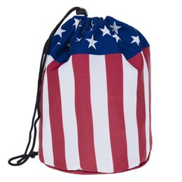 $enCountryForm.capitalKeyWord UK - 50pcs 2017 Printing America National Flag Pattern Makeup Bag Cylinder Storage Bag Travel Toilet Bag mix color 17*17*24cm