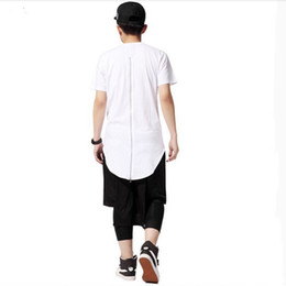 Wholesale men oversized extended t shirts resale online - Hot Men T Shirt Tyga Cool Oversized Gold Side Zipper Hip Hop Extended T shirt Top Tees Casual Shirt Clothes