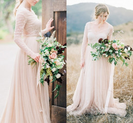 images dress france 2018 - Vintage Country Style Wedding Dresses With Lace Long Sleeves V Neck Tulle Pleats Wedding Gowns For France Bride Illusion