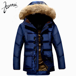 Chinese  Wholesale- KUAMAI New Men Down Coat Brand Clothing Winter Jacket Men Nagymaros Collar Warm Snow Horn Button Duck Down Jacket Men XXXL manufacturers