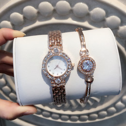Ladies braceLet watches online shopping - A Fashion lady watches women watch rose gold silver Stainless Steel blue Bracelet Wristwatches Brand female clock full of diamond